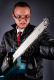 Maniac with a chainsaw Stock Photography