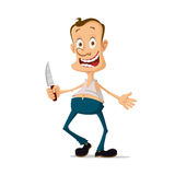Maniac with knife. Horror maniac murderer with knife cartoon character Stock Photo