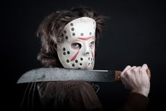 Maniac with machete Stock Images