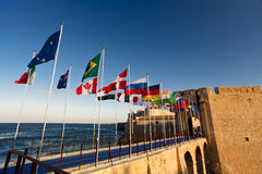 Maniace Castle flags Royalty Free Stock Photography