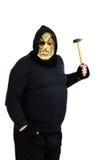 Maniaco enmascarado que agita un martillo Fotos de archivo libres de regalías