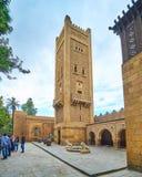 Manial宫殿清真寺,开罗,埃及被雕刻的尖塔  免版税库存图片