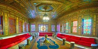 Manial宫殿,开罗,埃及叙利亚大厅的全景  免版税库存图片