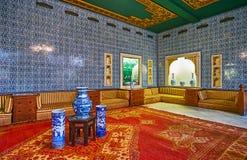 Manial宫殿,开罗,埃及蓝色铺磁砖的大厅  免版税库存图片