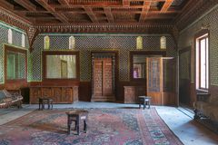 Manial Palace of Prince Mohammed Ali. Moroccan hall with blue Turkish floral pattern ceramic tiles, Cairo, Egypt. Manial Palace of Prince Mohammed Ali. Moroccan Royalty Free Stock Photo
