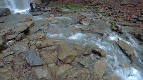 Maniavskii Waterfall in Gorgany stock video footage