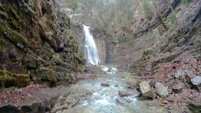 Maniavskii Waterfall in Gorgany. stock video