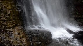 Maniavskii Waterfall in Gorgany. stock footage