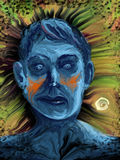 Manic Depressive. Illustrated man with a sad blue face made of expressive smudged brushstrokes Royalty Free Stock Images