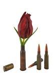 Manica con un fiore e tre pallottole Fotografia Stock Libera da Diritti