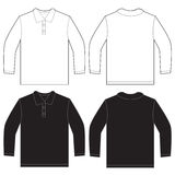 Manica lunga bianca nera Polo Shirt Design Template Fotografie Stock Libere da Diritti
