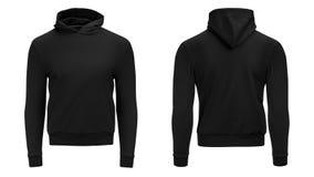 Manica lunga della maglietta felpata maschio nera di maglia con cappuccio dello spazio in bianco con il percorso di ritaglio, mod immagine stock