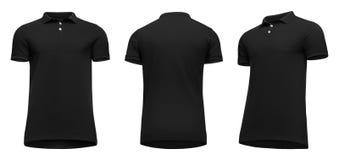 Manica nera di short della camicia di polo degli uomini in bianco del modello, parte anteriore e giro di vista posteriore mezzo d immagine stock libera da diritti
