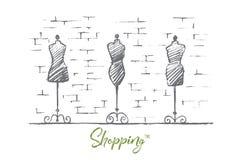 Manichini disegnati a mano dell'ente femminile nel negozio di modo Fotografia Stock Libera da Diritti