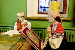Manichini - donne per cucito, XVII secolo La notte dei musei del Cremlino di Rjazan', la Russia Fotografia Stock Libera da Diritti