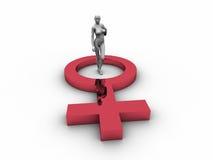 manichino 3D con il simbolo femminile Fotografia Stock Libera da Diritti