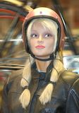 Manichino biondo della bambola con il casco fotografia stock libera da diritti