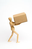 Manichino con il pacchetto Fotografie Stock Libere da Diritti