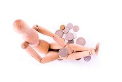 Manichino con le monete fotografia stock