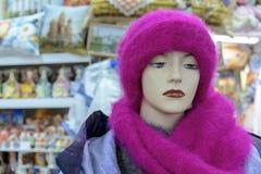Manichino con un cappello femminile di inverno in un negozio di vestiti fotografie stock
