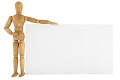 Manichino di legno con documento Fotografia Stock Libera da Diritti