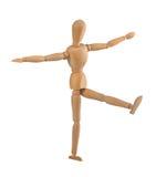 Manichino di legno nell'equilibrio Immagini Stock Libere da Diritti