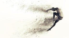 Manichino di plastica nero astratto del corpo umano con le particelle di scattering sopra fondo bianco Posa di balletto di salto  Fotografie Stock Libere da Diritti