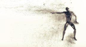 Manichino di plastica nero astratto del corpo umano con le particelle di scattering sopra fondo bianco Posa elettrica di break-da Fotografie Stock Libere da Diritti