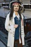 Manichino fatto a mano molto realistico famoso del pirata di Jack Sparrow fotografia stock libera da diritti