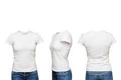 Manichino in maglietta bianca in bianco Fotografia Stock