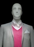 Manichino in rivestimento grigio chiaro & maglione rosso Immagine Stock Libera da Diritti