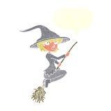 manico di scopa di guida della strega del fumetto con il fumetto Immagine Stock Libera da Diritti