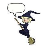 manico di scopa di guida della strega del fumetto con il fumetto Fotografia Stock Libera da Diritti