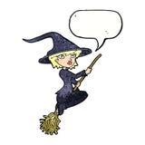 manico di scopa di guida della strega del fumetto con il fumetto Fotografia Stock