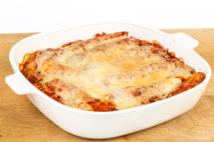Manicotti in Baking Dish Stock Images