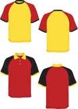 Manicotto giallo polo-rosso del nero-modello della maglietta. Immagini Stock Libere da Diritti