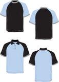 Manicotto grigio polo-blu del nero-modello della maglietta. Fotografia Stock
