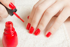Manicura - clavos manicured hermosos del ` s de la mujer con el esmalte de uñas rojo en la toalla blanca suave Foto de archivo