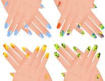 Manicura coloreada stock de ilustración