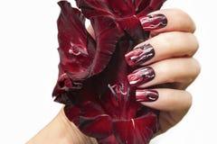 Manicura roja con el gladiolo imagen de archivo