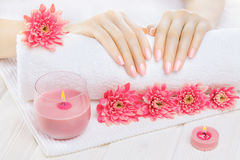 Manicura rosada hermosa con el crisantemo y toalla en la tabla de madera blanca Spa Imagen de archivo