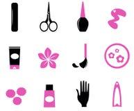 Manicure ícones ilustração stock