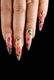Manicure. Girl fingers with beautiful drawing on nails royalty free stock photography