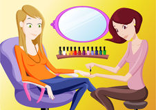 Manicure. Young lady  manicuring in  a beauty salon Stock Images