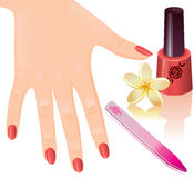 Manicure. Woman's hand with red nails, nail file and nail polish Royalty Free Stock Photo