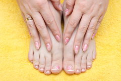 Manicure. Beautiful hands showing nails with figure Royalty Free Stock Images