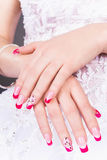 Manicure. Nice hands with nail art Royalty Free Stock Photos