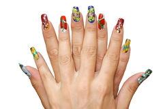 Manicure. Womanish fingers are with a manicure Royalty Free Stock Photo