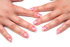 Manicure. Women's hands with the figure at kasivymi nails manicure Stock Images