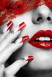 Manicure acrilico delle unghie Fotografia Stock
